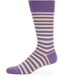 Chaussettes à rayures horizontales violettes