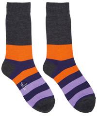 Chaussettes à rayures horizontales violettes Y's
