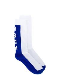 Chaussettes blanc et bleu MSGM