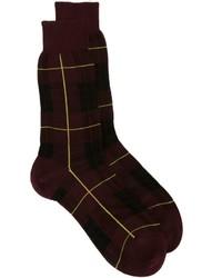 Chaussettes écossaises bordeaux Alexander McQueen