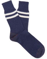 Chaussettes en laine à rayures horizontales bleu marine Junya Watanabe