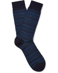 Chaussettes en laine à rayures horizontales bleu marine Pantherella