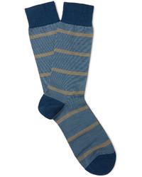Chaussettes en laine à rayures horizontales bleues Pantherella