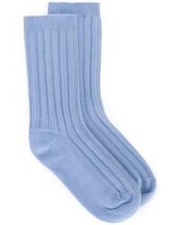 Chaussettes en laine bleu clair Rochas