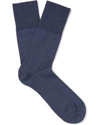 Chaussettes en laine bleu marine Falke