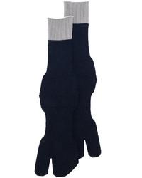 Chaussettes en laine bleu marine Maison Margiela