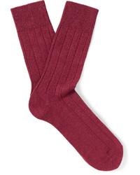 Chaussettes en laine en tricot rouges Falke