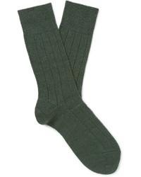 Chaussettes en laine en tricot vert foncé