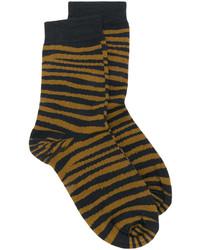 Chaussettes en laine imprimées moutarde Stella McCartney