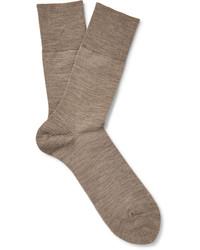 Chaussettes en laine marron clair Falke