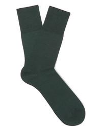 Chaussettes en laine vert foncé Falke
