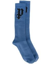 Chaussettes en tricot bleues Palm Angels