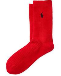 Chaussettes en tricot rouges