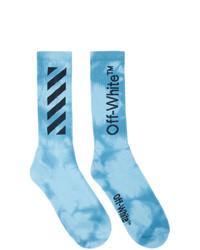 Chaussettes imprimé tie-dye bleu clair Off-White
