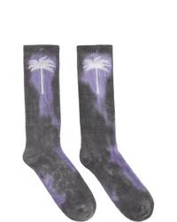 Chaussettes imprimé tie-dye gris foncé Palm Angels
