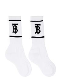 Chaussettes imprimées blanches et noires Burberry
