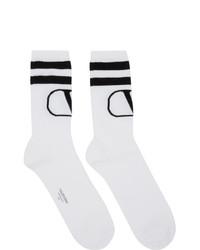 Chaussettes imprimées blanches et noires Valentino