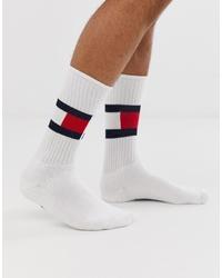 Chaussettes imprimées blanches Tommy Hilfiger
