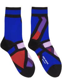 Chaussettes imprimées bleu marine Issey Miyake
