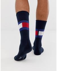 Chaussettes imprimées bleu marine Tommy Hilfiger