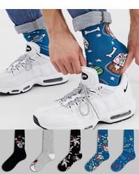 Chaussettes imprimées bleues ASOS DESIGN
