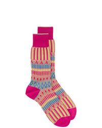 Chaussettes imprimées fuchsia Ayame