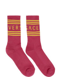 Chaussettes imprimées fuchsia Versace