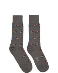 Chaussettes imprimées gris foncé Paul Smith