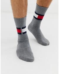 Chaussettes imprimées grises Tommy Hilfiger