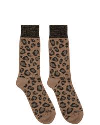 Chaussettes imprimées léopard marron clair Versace