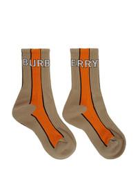 Chaussettes imprimées marron clair Burberry