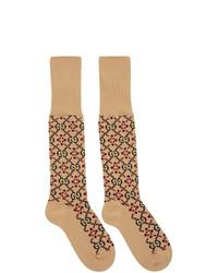 Chaussettes imprimées marron clair Gucci