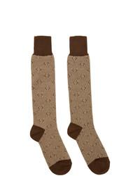 Chaussettes imprimées marron