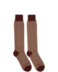 Chaussettes imprimées marron Gucci