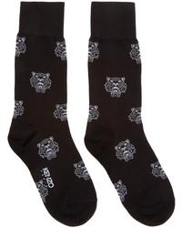 Chaussettes imprimées noires et blanches Kenzo