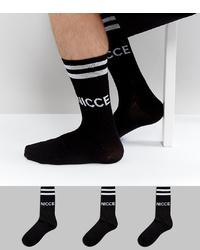 Chaussettes imprimées noires et blanches Nicce London