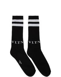 Chaussettes imprimées noires et blanches Valentino