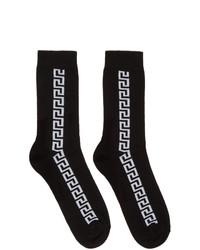 Chaussettes imprimées noires et blanches Versace