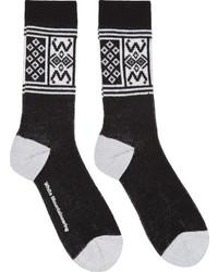 Chaussettes imprimées noires et blanches White Mountaineering