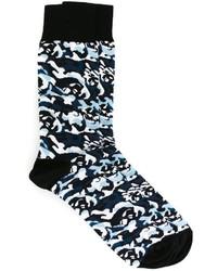 Chaussettes imprimées noires Alexander McQueen