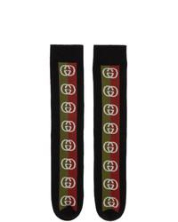 Chaussettes imprimées noires Gucci