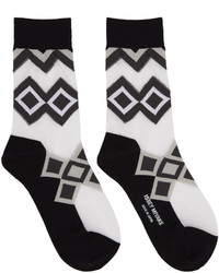Chaussettes imprimées noires Issey Miyake