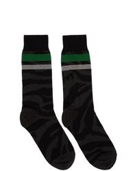 Chaussettes imprimées noires Sacai