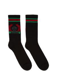 Chaussettes imprimées noires Versace