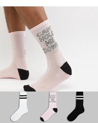 Chaussettes imprimées roses New Look