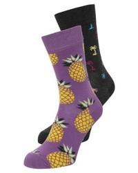 Chaussettes imprimées violettes Happy Socks