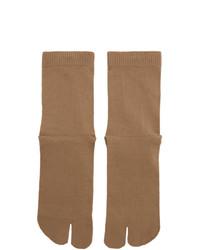Chaussettes marron clair Maison Margiela