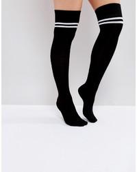 Chaussettes montantes à rayures horizontales noires Asos