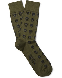 Chaussettes olive Alexander McQueen