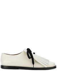 Chaussures à lacet en cuir à franges blanches Marni
